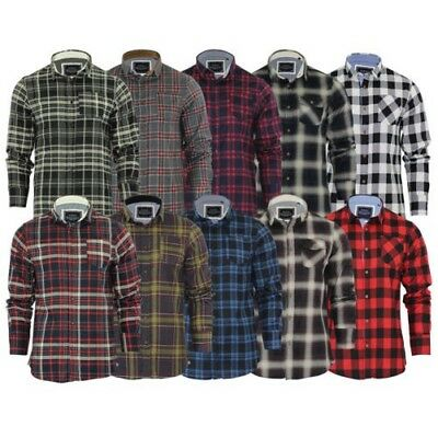 - Mens Check Shirt Brave Soul Flannel Brushed Cotton Long Sleeve Casual Top