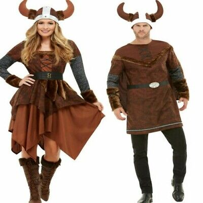 Erwachsene Wikinger Barbar Herren Damen Kostüm Mittelalterlicher Krieger Outfit