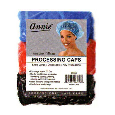 Annie Processing Caps Coloring Perm Shower Vinyl Extra Large 10CT Assort #3553