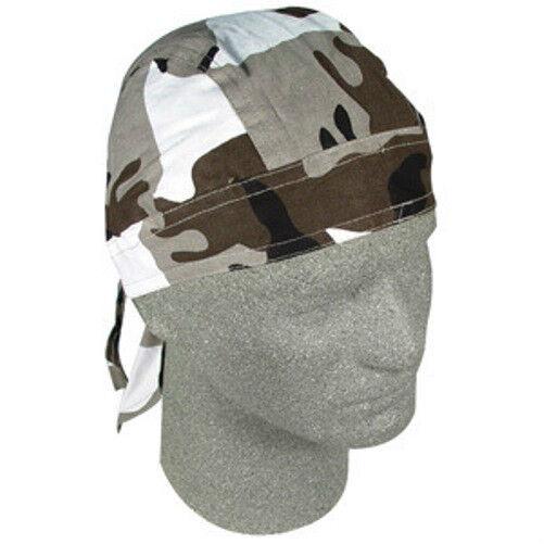 Urban Grey White Black Camo Doo Rag Headwrap Skull Cap Biker Durag Camoflauge