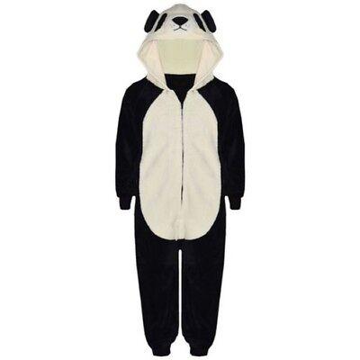 Kinder Mädchen Jungen A2Z Einteiler Weich Flauschig Panda Halloween Kostüm 7-13