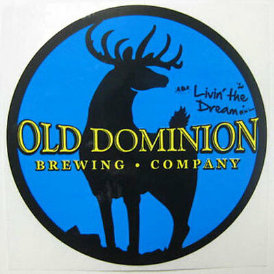 OLD DOMINION BREWING COMPANY blue Beer STICKER, Label w/ DEER, Ashburn, VIRGINIA