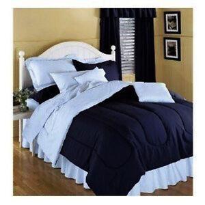 Solid color comforter navy blue reversing to light blue ebay