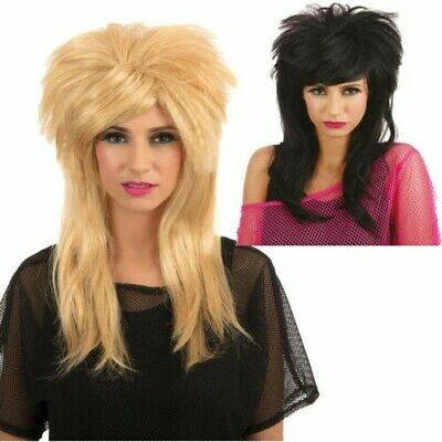 80s Lang Vokuhila Perücke Herren Damen Rocker Popstar Diva Kostüm Zubehör 1980s