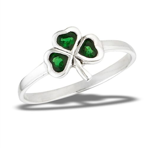 STERLING SILVER SHAMROCK RING WITH Green Stones