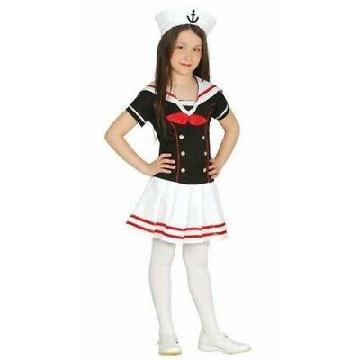 Marine Costume For Girls (Girls Cute Black Sailor Dress & Hat Marine Childrens Fancy Dress)