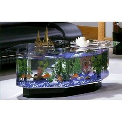 Unique Coffee Table Aquarium 28 Gallon Fish Tank Hexagon Solid Glass Top Kit New