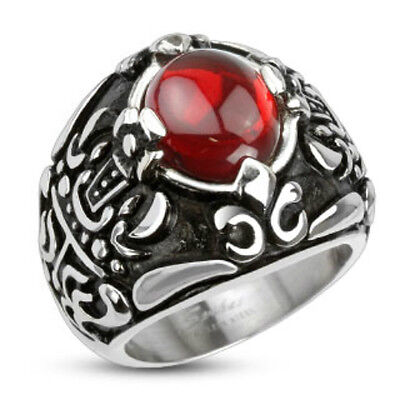 (Stainless Steel Royal Crown Red Stone Center Cast Ring )