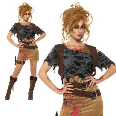 Erwachsene Deluxe Zombie Jägerin Maskenkostüm Tomb Raider Halloween Neu