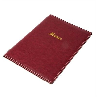 MENU HOLDER BURGUNDY A5 LEATHERETTE STYLE 4 SIDED RESTAURANT CAFE RE224