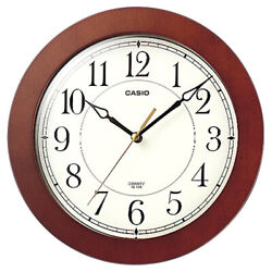 Casio IQ-126-5D Round Wood Frame White Face Easy to Read Wall Silent Clock New
