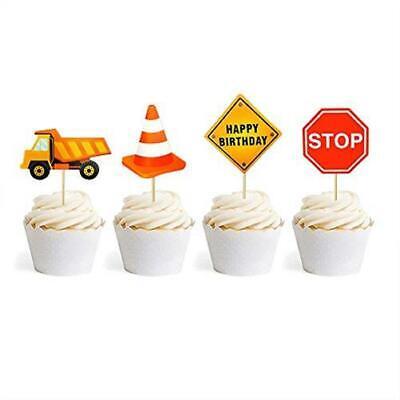24 PCS Construction Cupcake Toppers Dump Trucks Cupcake Picks Kids Birthday