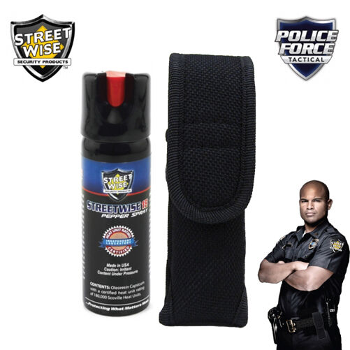 Streetwise 18 - 3 Oz PEPPER SPRAY And Police Force Heavy Duty HOLSTER Sheath - $14.88