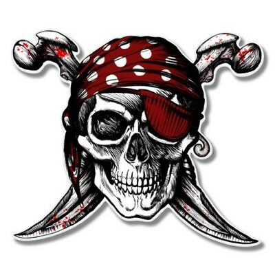 Pirate Skull Jolly Roger Car Laptop Phone Vinyl Sticker  - SELECT SIZE (Pirate Stickers)