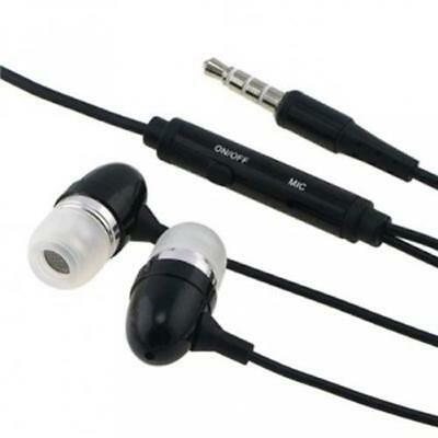 BLACK METAL EARBUDS HANDS-FREE HEADSET EARPHONES MIC EARPIEC