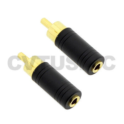 2 x 3.5mm Stereo Female Jack to RCA Male Plug Audio Adapter 24K Gold Plated