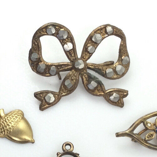 Antique Victorian Edwardian Ribbon with Steel Cut Stones Pin Brooch
