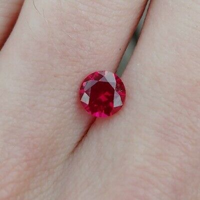Lab Created Red Ruby USA Precision Cut Hearts and Arrows Round 6.55mm 1.42ct