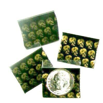100 Golden Skulls Apple Baggies 1 X 0.75 Mini Ziplock Bags 1034 Reclosable