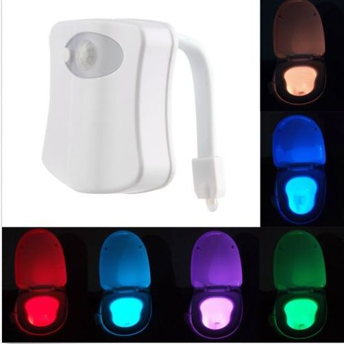 LED Toilet Bathroom Night Light Human Motion Activated Seat Sensor Lamp Bright