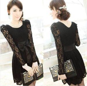 Sexy-Lady-Long-Sleeve-Lace-Leopar-Black-White-Formal-Party-Dress-Evening-Dress