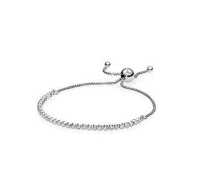 *NEW AUTHENTIC PANDORA Sterling Silver Sparkling Strand Bracelet 590524CZ Large