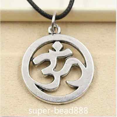 New Tibetan Silver Pendant Yoga Om Necklace Choker Charm Black Leather Cord