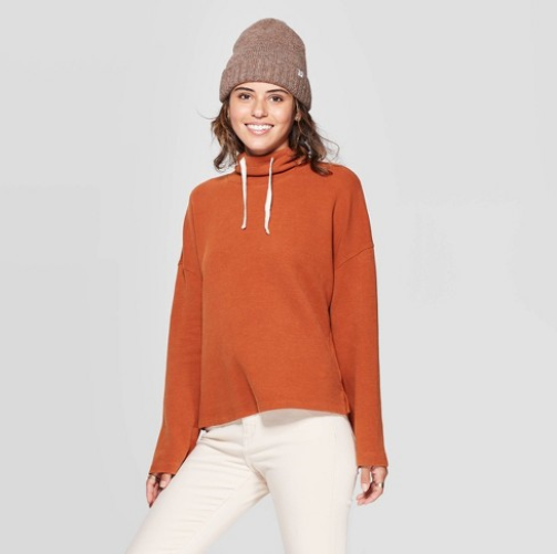 Women's Mock Turtleneck Waffle Sweatshirt- Universal Threads, Rust XL Clothing, Shoes & Accessories