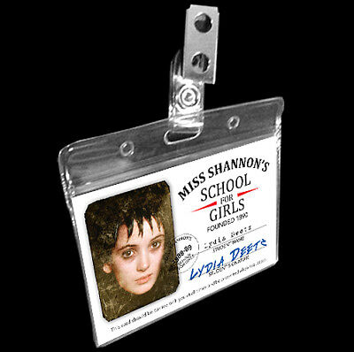 Beetlejuice Lydia Deetz Halloween Costume Name Badge HS School ID Goth Cosplay (Halloween Female Names)