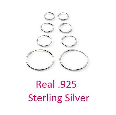 Lot of 4 pairs of Real 925 Sterling Silver Endless Hoop earrings 10,12,15mm,25mm