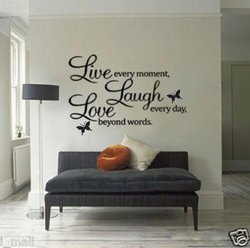 New Live Laugh Love citation Bricolage Autocollant Vinyle Amovible Art Wall Sticker Home Decor