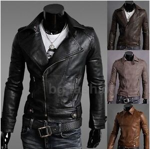 Colors-Mens-Slim-Fit-synthetic-leather-Jacket-Biker-Jacket-Zipper-Coat-Blazer