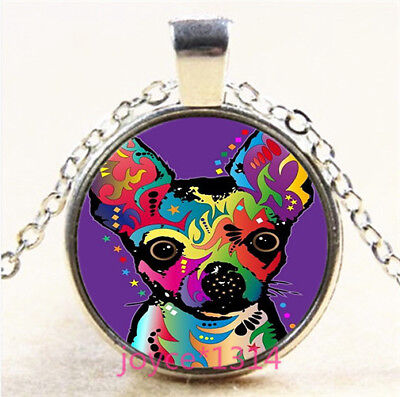 Colorful dog Cabochon Silver/Bronze/Black/Gold Glass Chain Pendant Necklace#6082