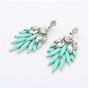 New-Fashion-Jewelry-Mint-Color-Resin-Rhinestone-Bohemian-Style-Earring-Stud
