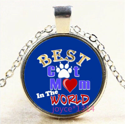 Best Cat MOM In The World Silver/Bronze/Black/Gold Glass Chain Necklace #7077 - Worlds Best Mom