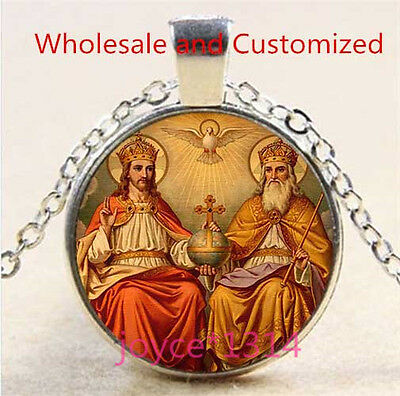 Glass Dove Necklace - Jesus God the Father Holy Spirit dove Cabochon Glass silver Necklace #4951