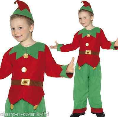 Jungen Mädchen Kinder Weihnachtselfe Santa's Helfer Kostüm Kleid Outfit 3-1