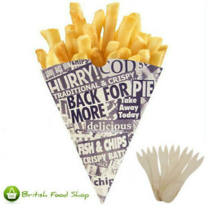 100 News Print Chip Shop Cones + 100 Wooden Forks - Party BBQ Catering TRACKED!
