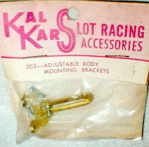 Brass Adjustable Slot Car Body Mounting Brackets & 6 Screws Kal Kar # 203 NOS