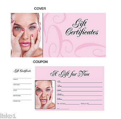 HAIR SALON GIFT CERTIFICATES BOOK numbered from 1-50