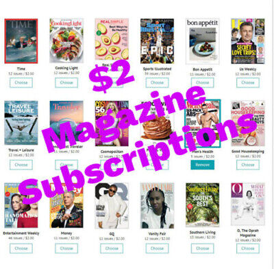 $2 Magazine Subscriptions - 80 to choose from!! Delivered Free to your door