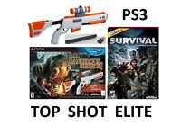 PS3 Top Shot Elite Cabelas Rifle Gun + 2 Games Bundle for ps3
