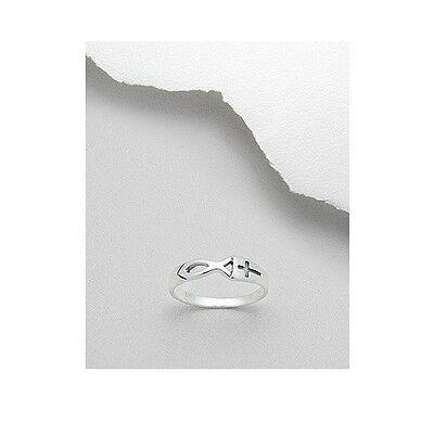 Sterling Silver .925 Cross Fish Jesus Christian Fashion Ring Sizes - Jesus Fish Ring