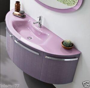 Mobile bagno curvo laccato arredobagno gu03 con piano in - Mobile bagno curvo ...