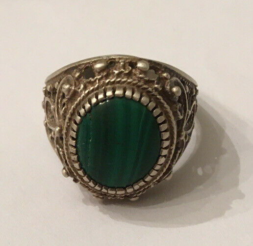 Russian Men Ring 84 Silver Malachite
