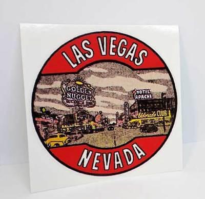 Las Vegas Vintage Style Round Travel Decal / Vinyl Sticker, Luggage Label