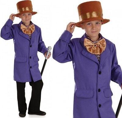Kinder Schokoladen Fabrik Besitzer Maskenkostüm Wonka Outfit NEU FS ()