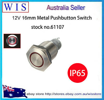 LED illuminated Momentary 16mm Push Button Switch,Stainless Steel,12V,IP65-61107 Illuminated Push Button Switches