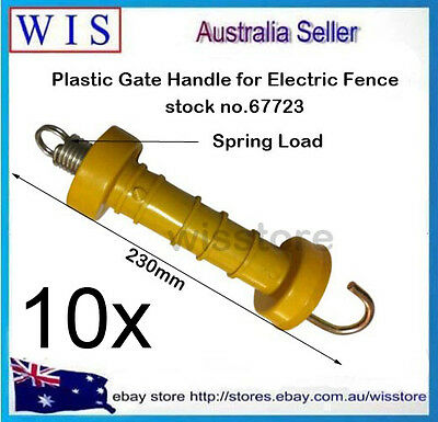 10/PK Electric Fence Poly Handle Gate YLW Internal Spring Hook Heavy Duty-67723