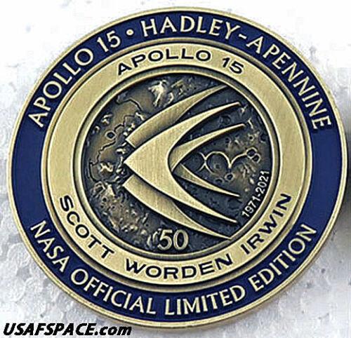 APOLLO-15 -Limited Edition- 50th Anniversary - LUNAR FLOWN METAL NASA MEDALLION